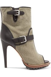 Belstaff Croft Leather Trimmed Canvas Ankle Boots Army Green