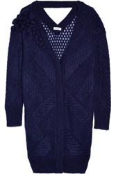 Vionnet Embellished Open Knit Mohair Blend Cardigan Royal Blue