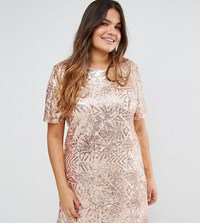 Truly You All Over Embellished Cap Sleeve Dress Rose Gold