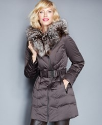 The Fur Vault Fox Fur Trim Belted Quilted Puffer Parka Brown