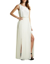 Bcbgeneration Faux Leather Pleated Dress Whisper White