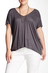 14Th And Union Mesh Sleeve Tee Plus Size Gray