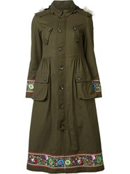 Red Valentino Faux Fur Hooded Embroidered Coat Green