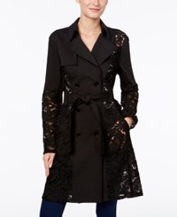 Inc International Concepts Illusion Lace Trench Coat Only At Macy's Deep Black