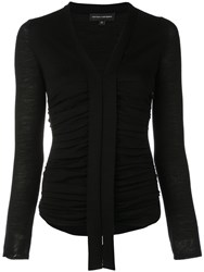 Narciso Rodriguez Ruched Long Sleeve Top Black