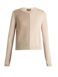 Giambattista Valli Mohair And Wool Blend Contrast Knit Sweater Light Pink