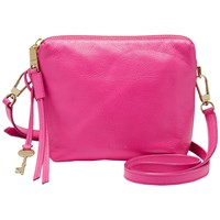 Fossil Maya Leather Across Body Bag Hot Pink