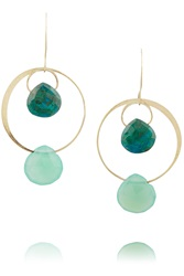 Melissa Joy Manning 14 Karat Gold Chrysoprase And Chalcedony Earrings