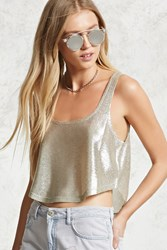 Forever 21 Metallic Cropped Tank Top Silver Champagne