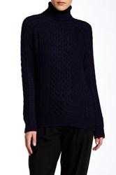 Vince Cable Knit Turtleneck Sweater Blue