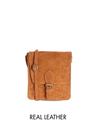 Asos Suede Tooled Satchel Bag Rust