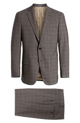 Hart Schaffner Marx Big And Tall Classic Fit Plaid Stretch Wool Suit Brown
