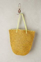 Anthropologie Market Straw Bucket Bag Dark Yellow