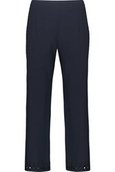 Derek Lam 10 Crosby By Cropped Broderie Anglaise Timmed Crepe Wide Leg Pants Midnight Blue