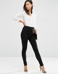 Asos High Waist Trousers In Skinny Fit Black