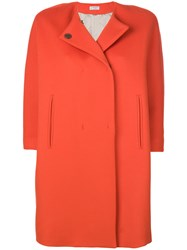 Alberto Biani Collarless Short Sleeve Coat Virgin Wool Yellow Orange