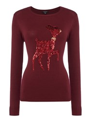 Therapy Nellie Sequin Reindeer Knit Jumper Burgundy