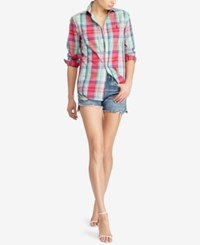 Polo Ralph Lauren Relaxed Fit Plaid Shirt Red Green Multi