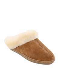 Minnetonka Shearling Lined Mules Tan