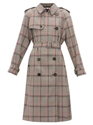 Stella Mccartney Prince Of Wales Check Wool Trench Coat Black Multi