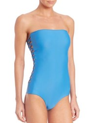 Mikoh One Piece Macrame Swimsuit Blue