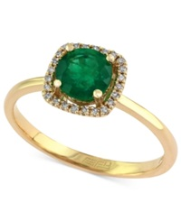 Effy Collection Brasilica By Effy Emerald 3 4 Ct. T.W. And Diamond Accent Square Ring In 14K Gold