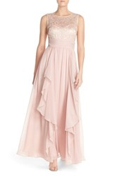 Eliza J 'S Lace And Chiffon Gown Blush
