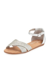 Correa Woven Leather Sandal Silver Toms