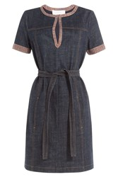 See By Chloe See By Chloe Denim Dress With Knit Trim Blue