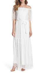 Charles Henry Off The Shoulder Popover Maxi Dress Ivory