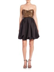 Parker Black Remi Beaded Top Party Dress Black Copper