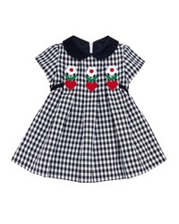Florence Eiseman Twill Check Hearts And Flowers Dress Multi