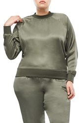 Good American Satin Crewneck Top Olive