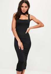 Missguided Black Lace Up Choker Square Neck Midi Dress