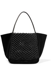 Proenza Schouler L Crocheted Leather And Suede Tote Black