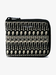 Saint Laurent Classic Paris Skeleton Print Leather Wallet Black White Silver
