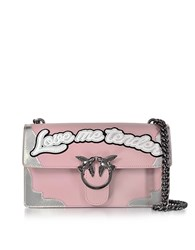 Pinko Love Flame Pink And Silver Leather Shoulder Bag
