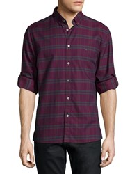John Varvatos Star Usa Oxblood Plaid Long Sleeve Sport Shirt Burgundy Red