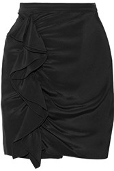 Rebecca Minkoff Jenson Ruffled Silk Crepe De Chine Mini Skirt Black