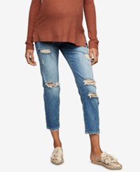 A Pea In The Pod Maternity Cropped Girlfriend Jeans Medium Wash