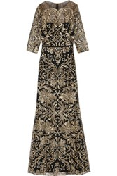 Marchesa Notte Metallic Embroidered Tulle Gown Gold