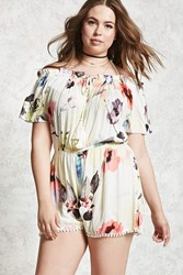 Forever 21 Plus Size Watercolor Romper Ivory Coral