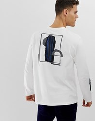 Asos White Loose Fit Heavyweight Long Sleeve T Shirt In Abstract Print
