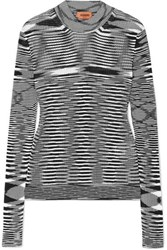 Missoni Striped Ribbed Crochet Knit Sweater Black