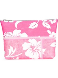 Luisa Cevese Riedizioni Hibiscus Print Make Up Bag Pink And Purple