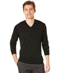 Perry Ellis Long Sleeve Solid V Neck Sweater Black
