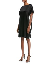 Escada Satin Capelet Cocktail Dress With Contrast Inset Black