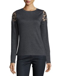 Elie Tahari Alice Lace Cold Shoulder Sweater Gray