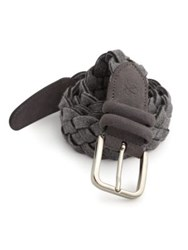 Canali Braided Leather And Cotton Belt Grey