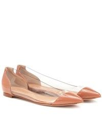 Gianvito Rossi Plexi Patent Leather Ballet Flats Pink